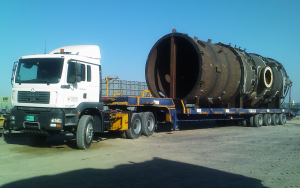 Industrial equipment cargo by road