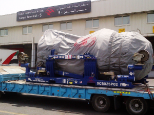 An aircraft engine being unloaded at the Air Cargo Sharjah Terminal by the air freight experts in dubai - ADSO is an international air freight company that handles such air cargo projects